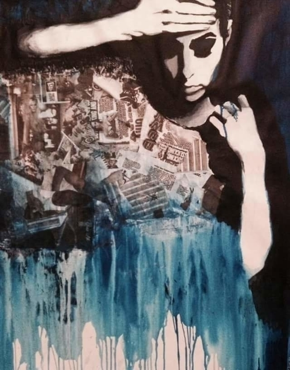 painting, girl, darkart, blue - froilainfriederieke | ello