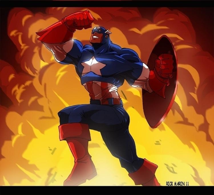 Captain America action - characterdesign - rickmarin | ello