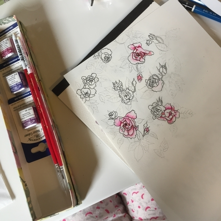 Sketches progress - roses, sketching - theaxx | ello