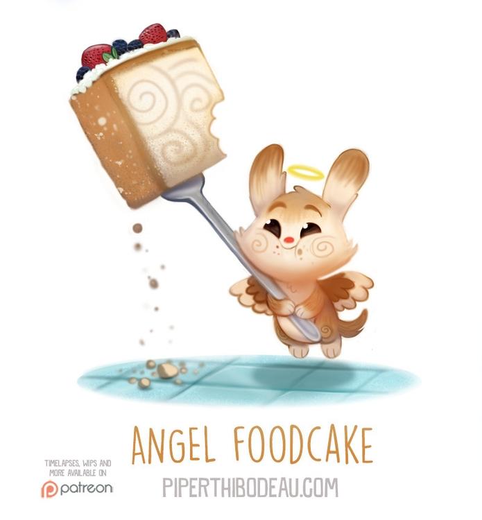 Daily Paint 1559. Angel Foodcak - piperthibodeau | ello