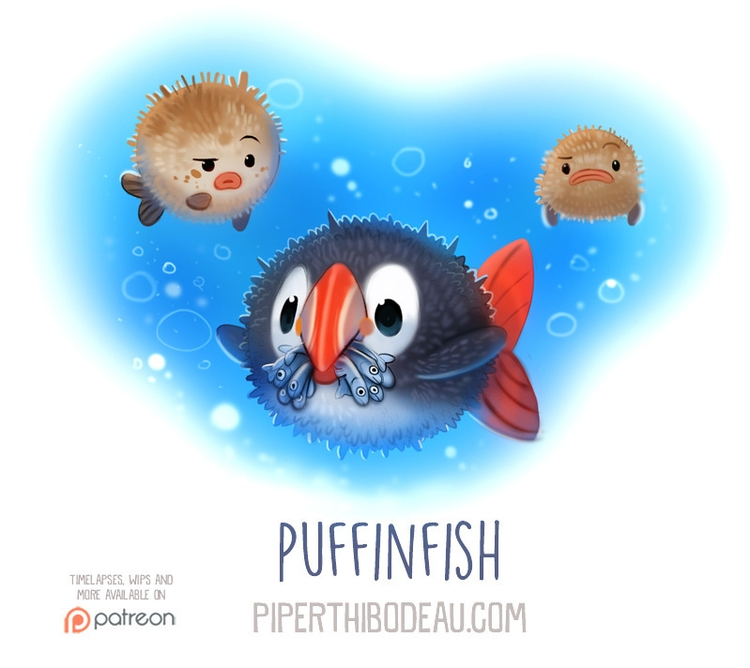 Daily Paint 1560. Puffinfish - piperthibodeau | ello