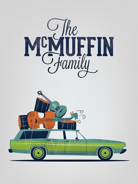 McMuffin family - illustration, car - antoinegadiou | ello
