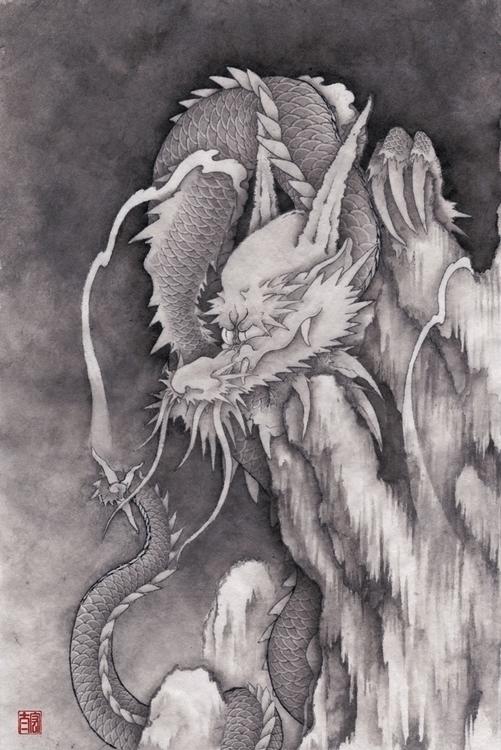 Dragon - dragon, ink, japan, painting - kota_nakatsubo | ello