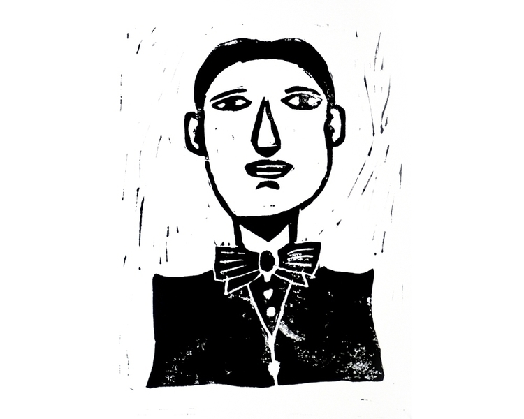 Linogravure - linocut, man, portrait - antoinegadiou | ello