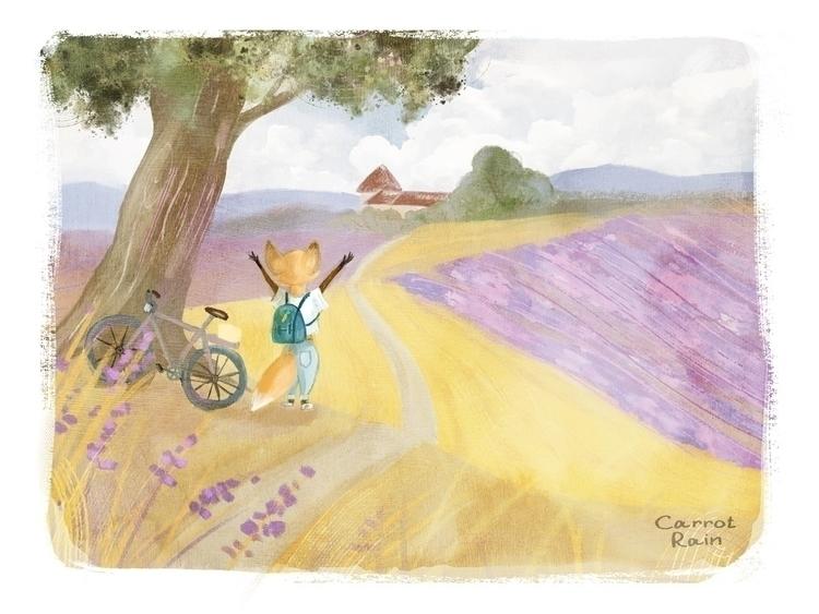 illustration, fox, lavender - carrotrain | ello