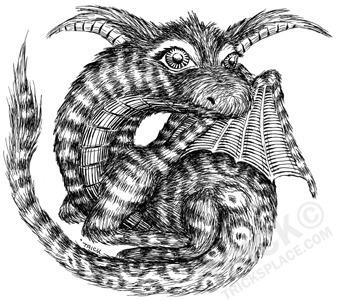 Cute Furry Dragon - dragon, lineart - trick-6303   ello