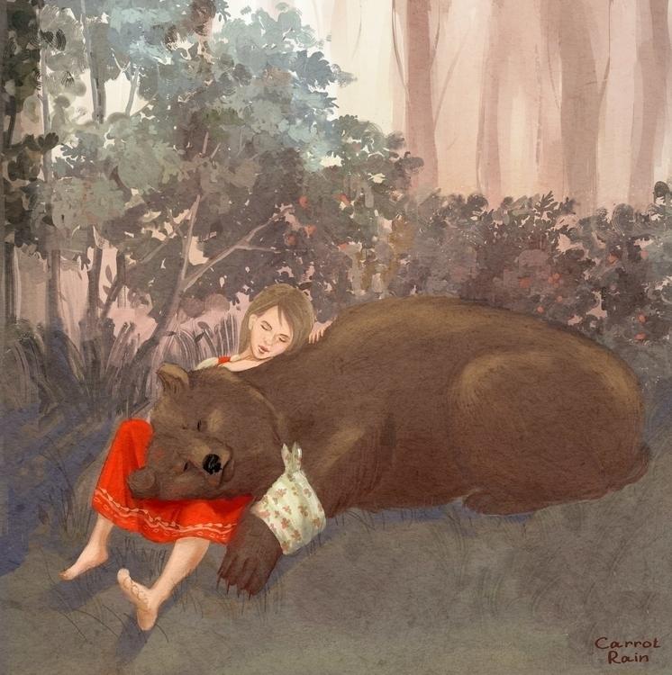 Masha Bear - illustration, fairytale - carrotrain | ello