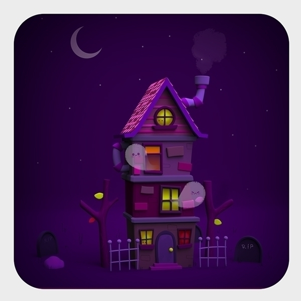 haunted house - halloween, 3d, illustration - cecymeade | ello