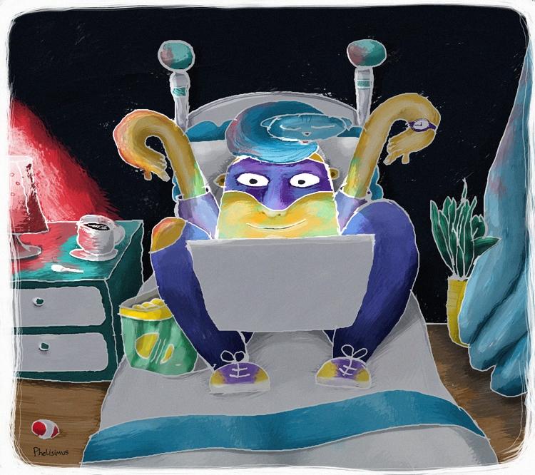 illustration, night, home, google - pchelisimus   ello