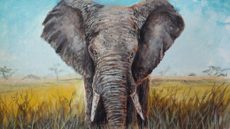 Elephant - illustration, painting - julian_gomez | ello