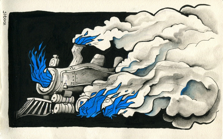 ghost train - 7, inktober, inktober2015 - mernolan | ello