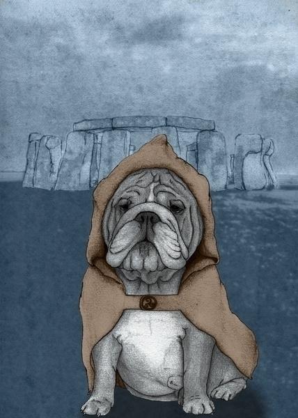 English Bulldog Stonehenge. Ill - barruf | ello