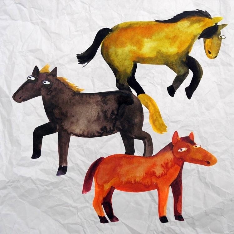 horses - horse, funny, aquarelle - prianikn | ello