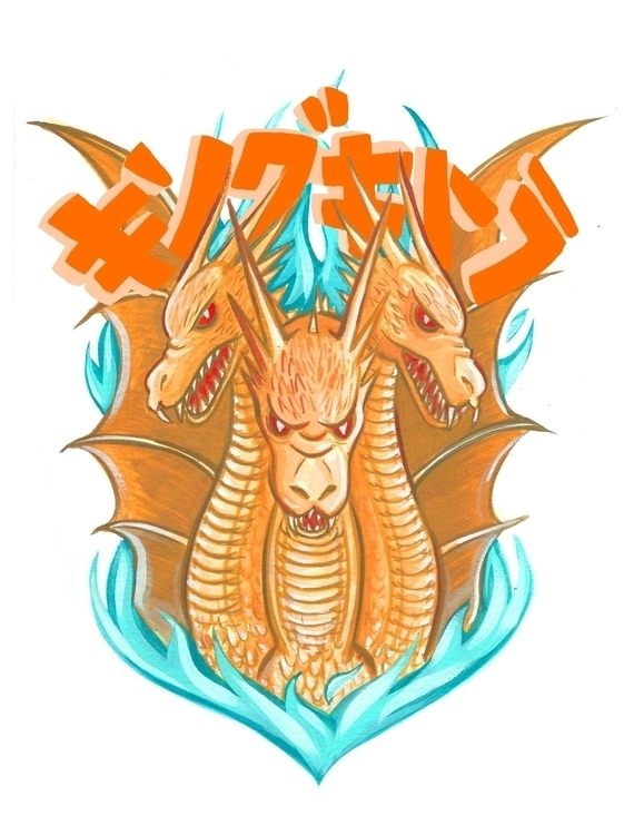 King Ghidorah - illustration, kingghidorah - devyn_park | ello