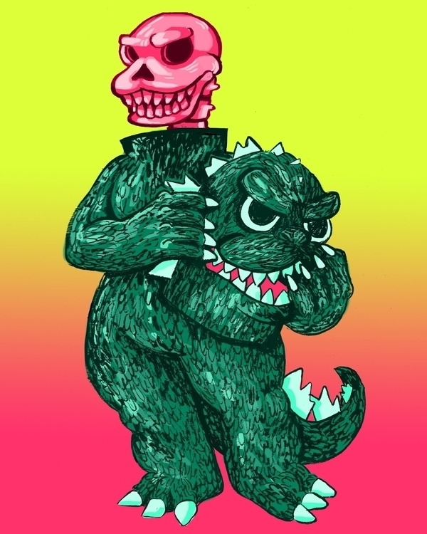 Godzilla Unmasked - godzilla, illustration - devyn_park | ello