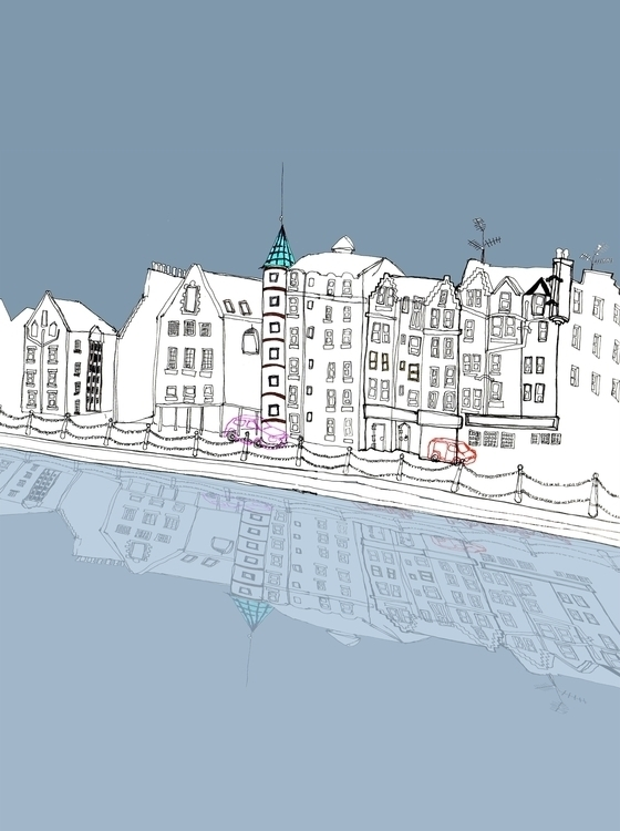 Edinburgh - Leith Shore - illustration - richbutler-1014 | ello