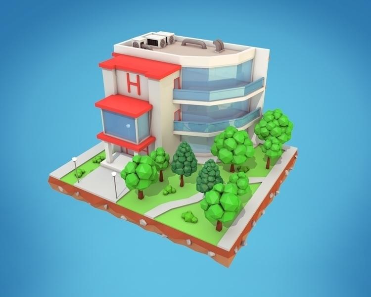 Poly Hotel - 3d, gameart, motiondesign - bigballsstudio | ello
