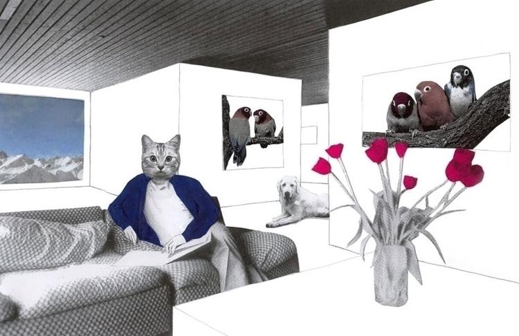 collage, illustration, cat, dog - robincottage | ello