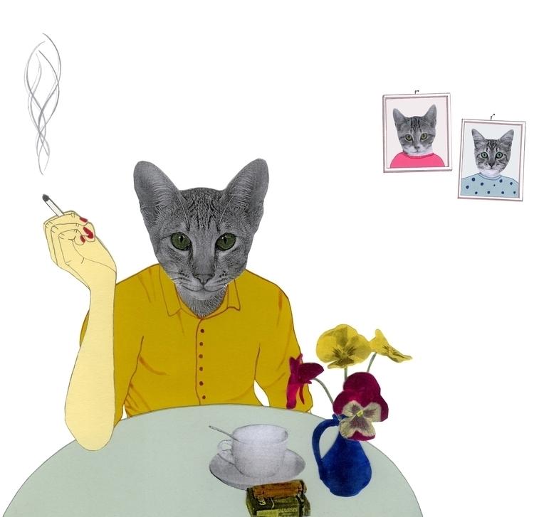 illustration, collage, cat, cigarette - robincottage | ello