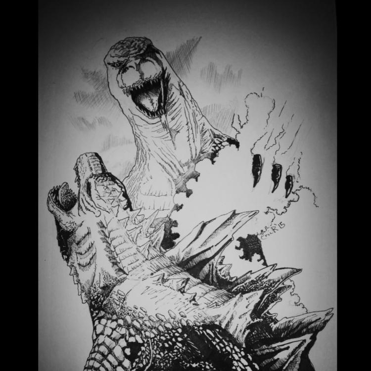 Godzilla sketch - illustration, drawing - erroseart   ello