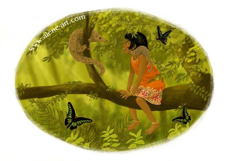 Meeting pangolins 'moss green'  - aleneart   ello