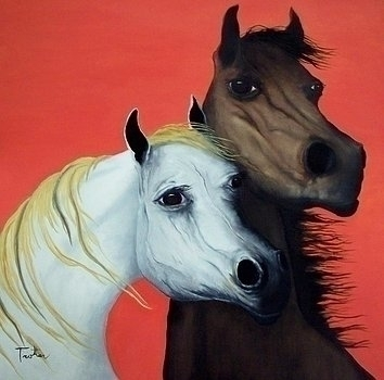 Horse Lovers red ,oil painting  - ptrotter | ello