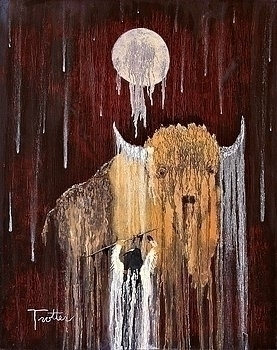 Buffalo Spirit ,oil painting pa - ptrotter | ello