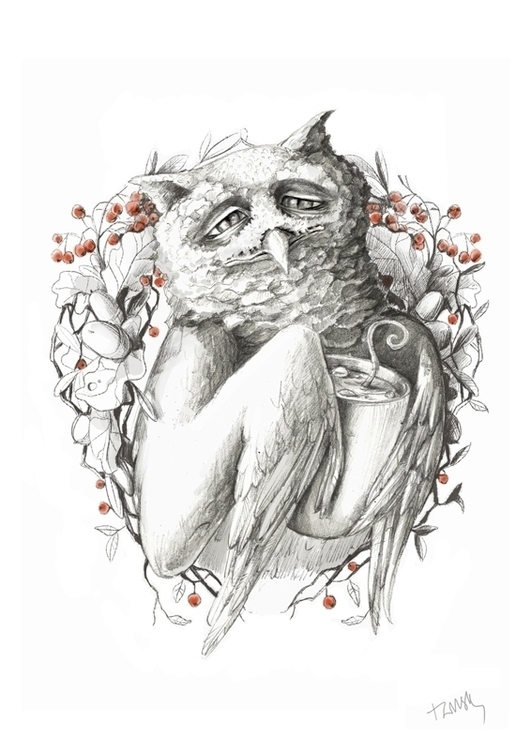Cacao mouse - owl, cacao, hot, fantasy - talamaskanka | ello