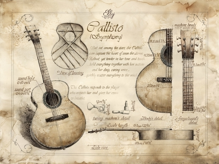 Drawings acoustic guitar design - grimdream | ello