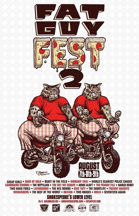 Poster Fat Guy Fest 2. Ink pape - big_pizza | ello