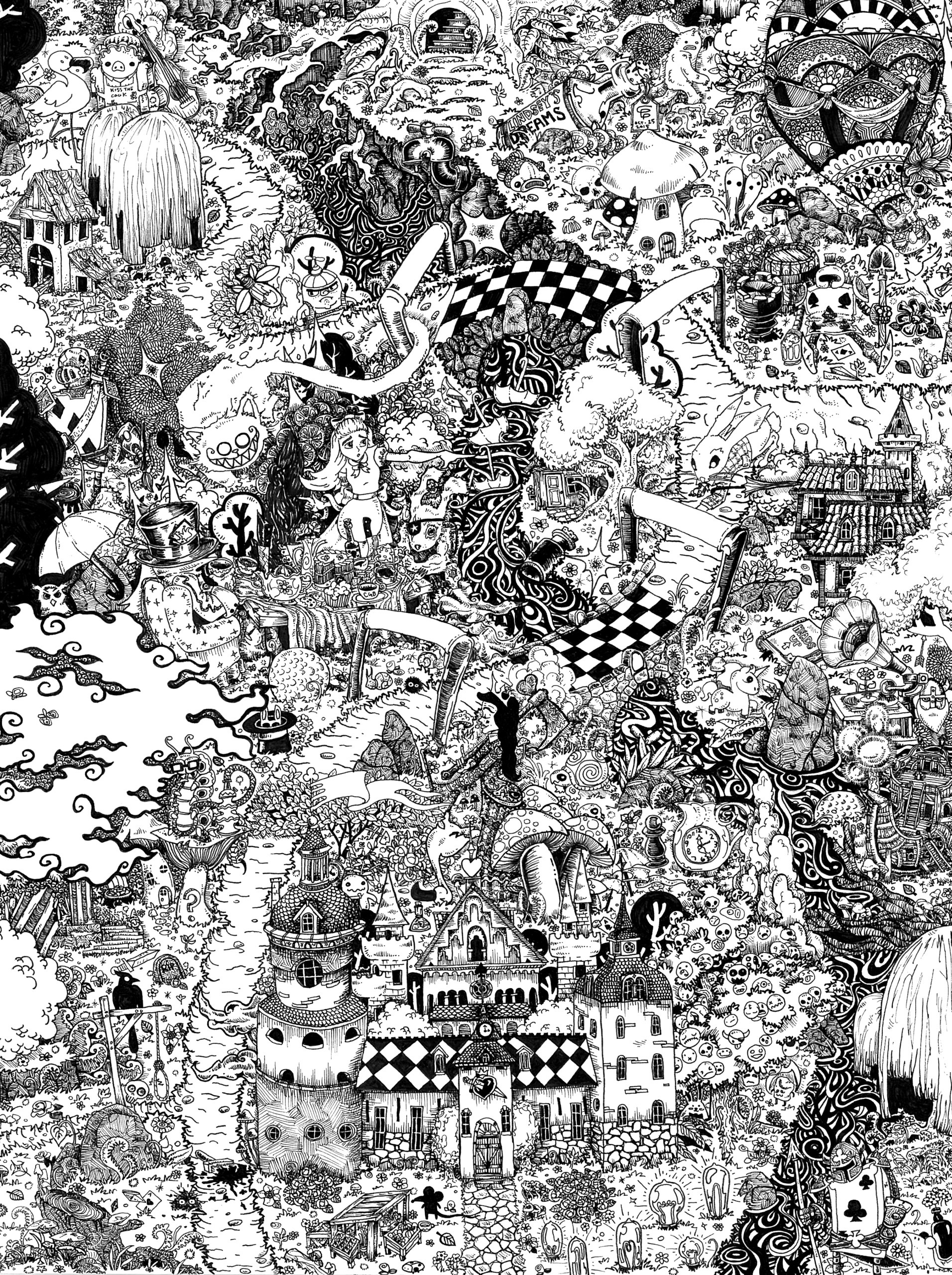 Alice Wonderland - illustration - wyldtrees | ello