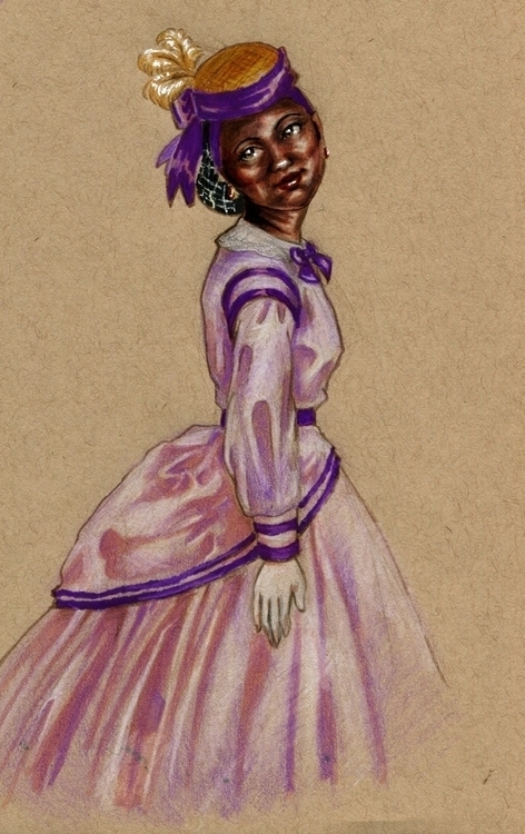 Victorian styled maiden - illustration - tyrawilloughby | ello