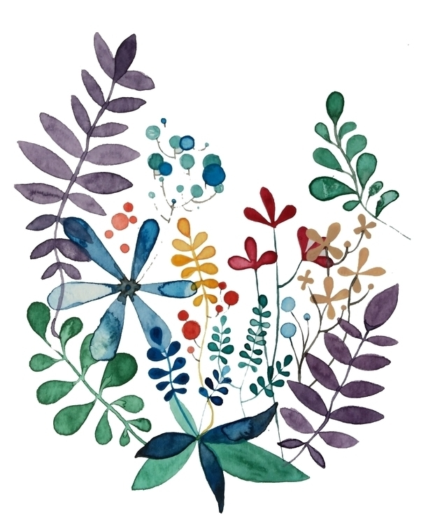 Flowers leaves - 1, watercolor, illustration - laurabracamonte | ello