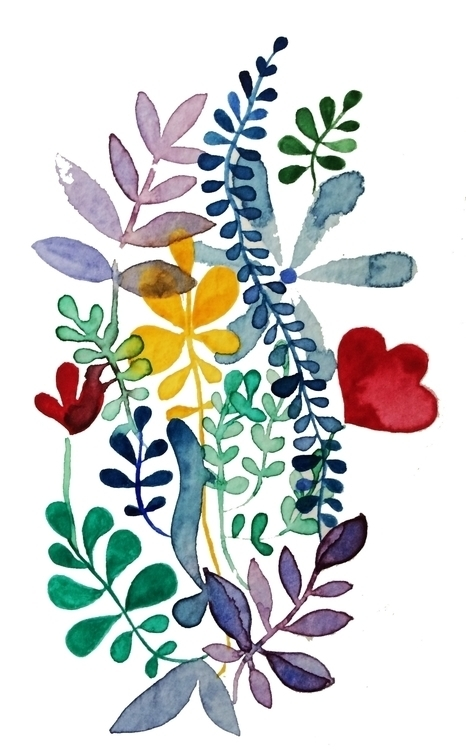 Flowers leaves - 4, watercolor, illustration - laurabracamonte | ello