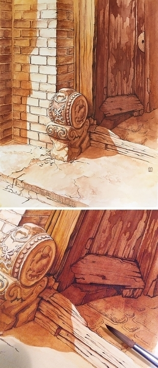 'Hutong-Stone Carving - 001', illustration - bingnanwei | ello
