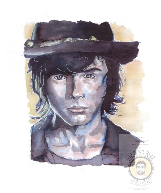 Carl Walking Dead, fan art illu - whistlingbear | ello
