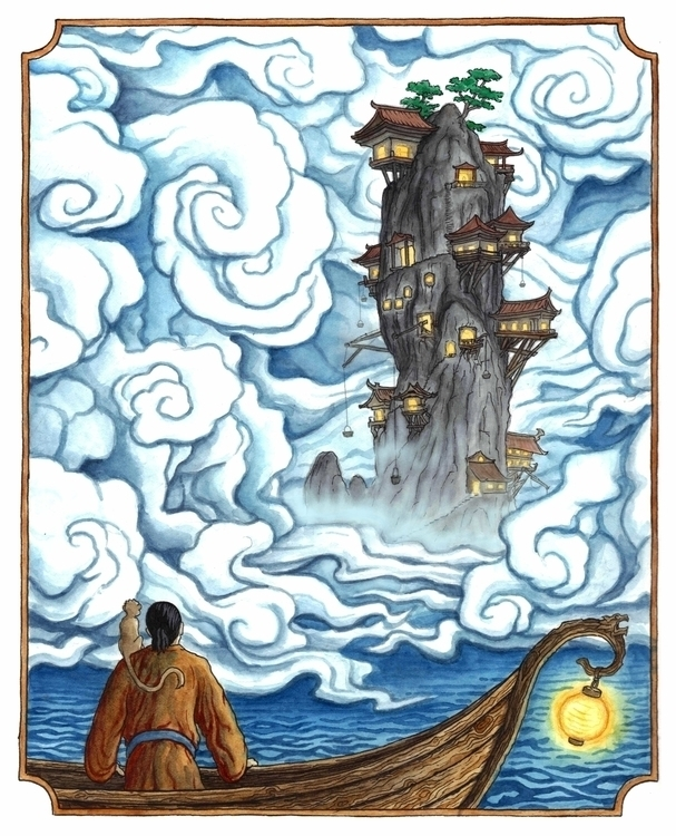 Lone Isle Calligrapher - illustration - bluemask-5749 | ello