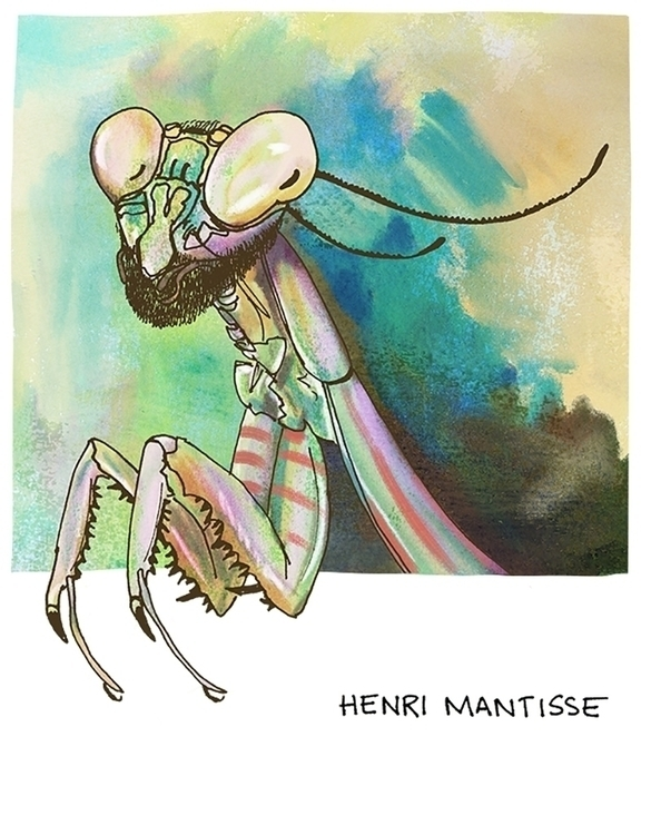 Henri Mantisse (Henri Matisse - pun - nanu_illustration   ello