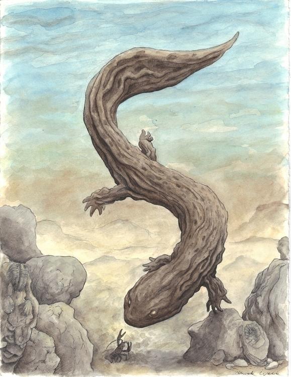 Hellbender - illustration, painting - bluemask-5749   ello