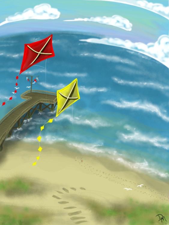 nice fly kite - ipad, ocean, summer - dmerchen | ello