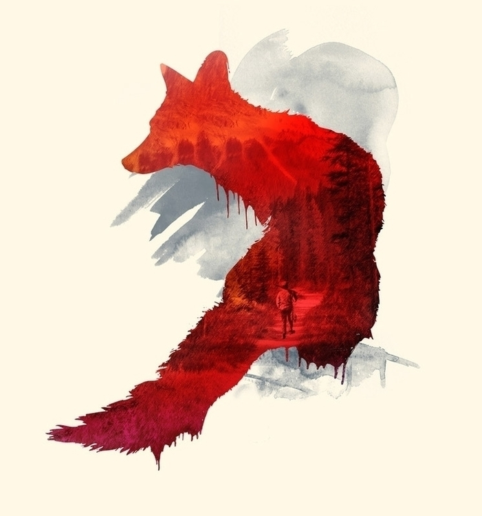 Bad Memories - nature, fox, watercolor - astronaut-6456 | ello