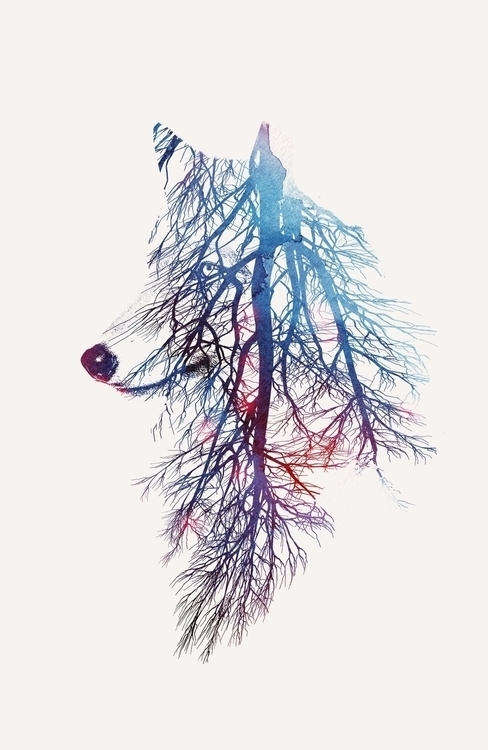 roots - nature, wolf, watercolor - astronaut-6456 | ello