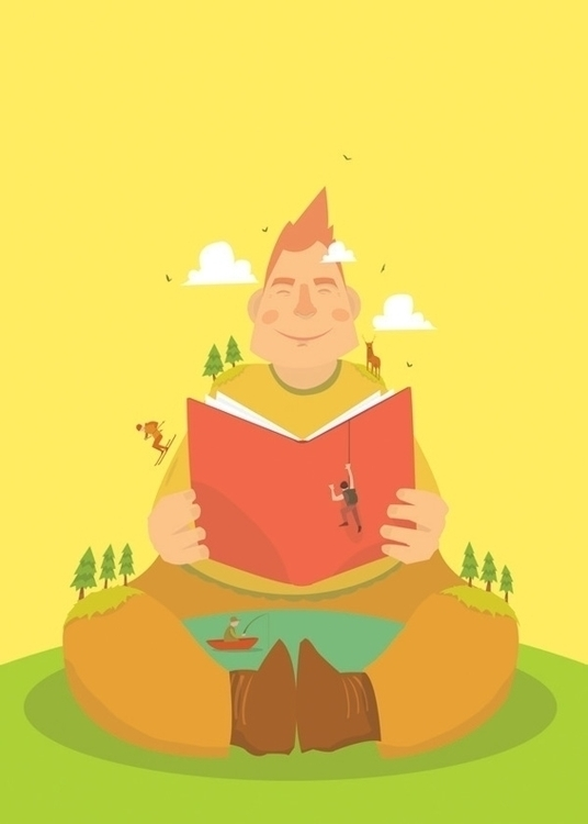 illustration, mountain, man, book - mattiddi | ello