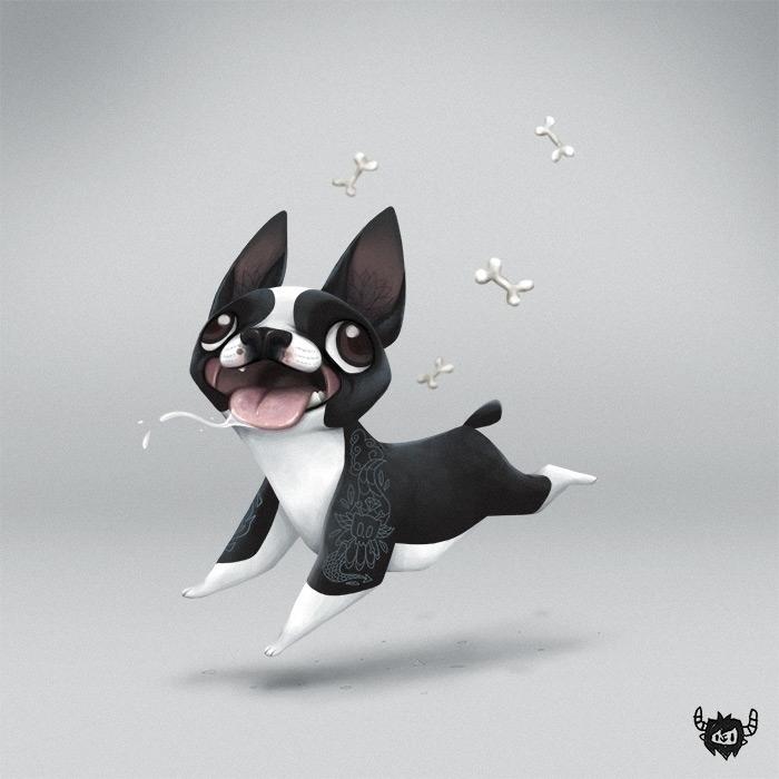 Boston - dog, bostonterrier, character - yoii | ello