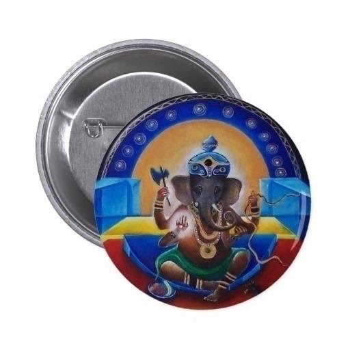 Ganesha Button - painting, acrylic - wolfgangschweizer | ello