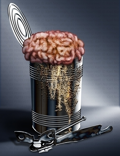 Canned Brains - illustration, conceptart - thelycanknight | ello