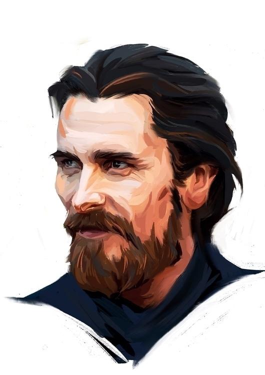 Christian Bale - portrait, digitalart - miroedova | ello