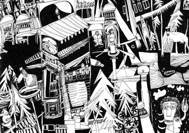 illustration, blackandwhite, strange - tychonikum   ello
