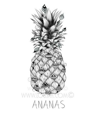 Ananas - illustration, art, draw - loujah | ello