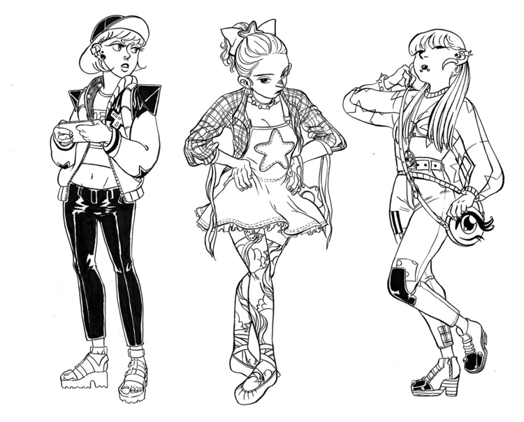fashion, girls, inking, traditionalart - sixiaoart | ello